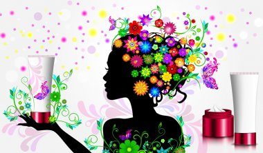 Silhouette of girl in flowers holding cream. Natural cosmetics concept stock vector
