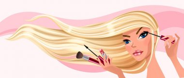 Girl paints eyelashes vector illustration