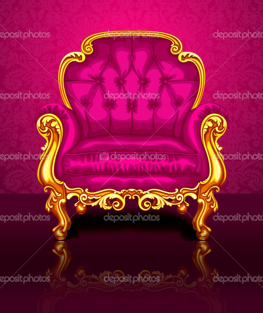 Bright pink chair on the background of beautiful wallpapers u2014 Stock Vector & Bright pink chair on the background of beautiful wallpapers u2014 Stock ...