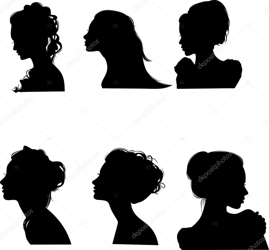 silhouettes of girls with hairstyles, vector — stock vector