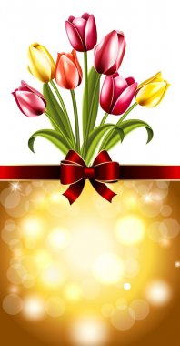 Card with tulips on March 8