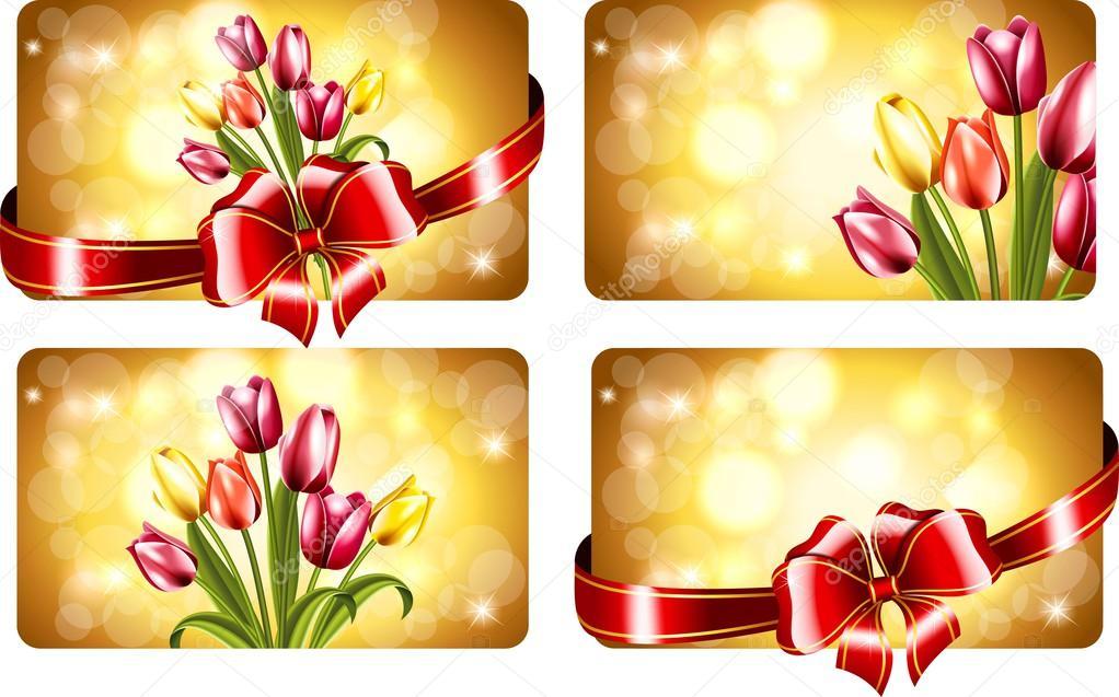 Cartes De Visite Avec Tulipes Le 8 Mars Image Vectorielle