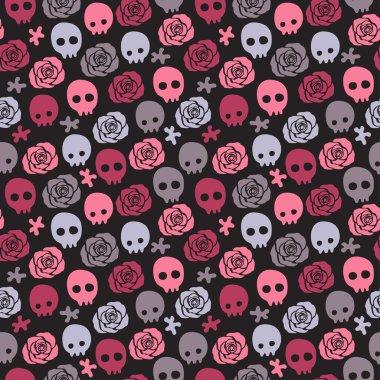 Skull rose seamless background