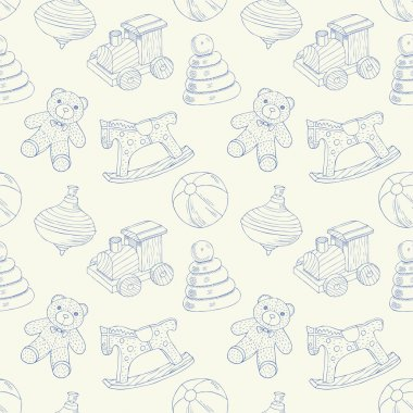 Retro toys seamless pattern