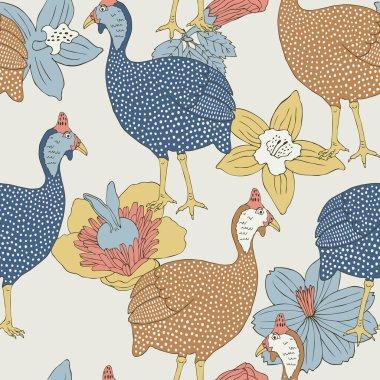 Guinea fowl seamless pattern