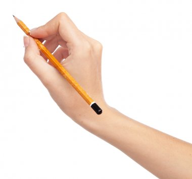 Female hand holding a pencil, isolated on white background