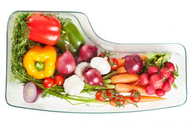 Vegetables stored in a refrigerator