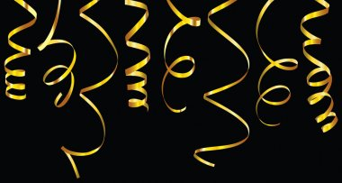 Gold and silver curling ribbons