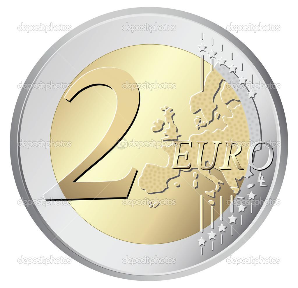 Ilustra o em vetor moeda 2 euros vetor de stock - Stock piastrelle 2 euro ...