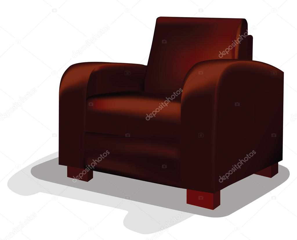 Vector Red Leather Tub Chair Stock