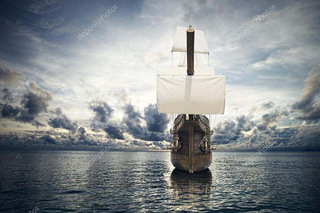 Ancient ship in the sea