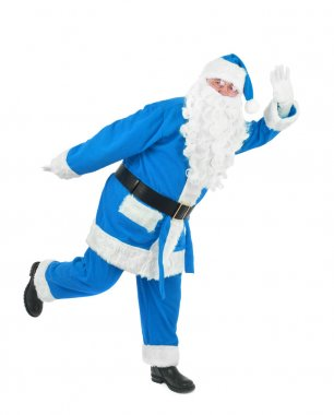 Funny blue santa waves hand over white background stock vector