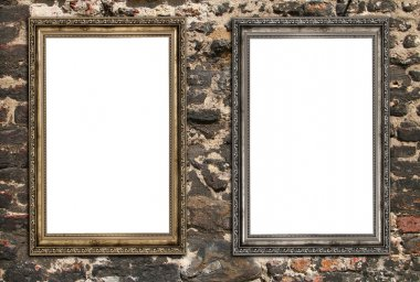 Two empty wooden frames