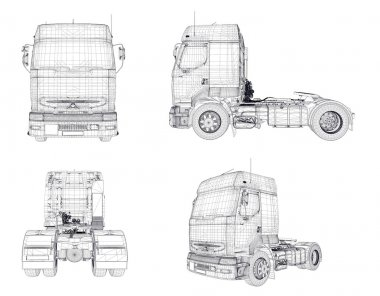 Four wireframe trucks