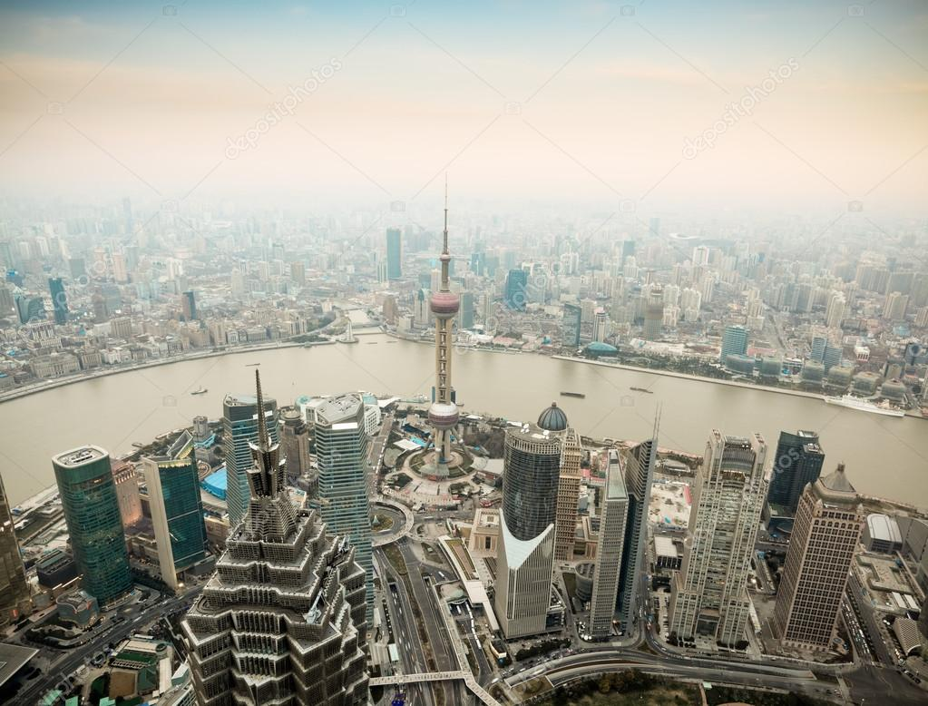 Panoramic view of shanghai at dusk