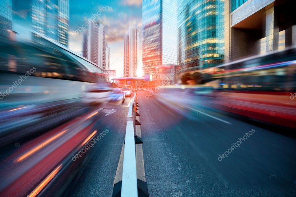 Dynamic street in modern city