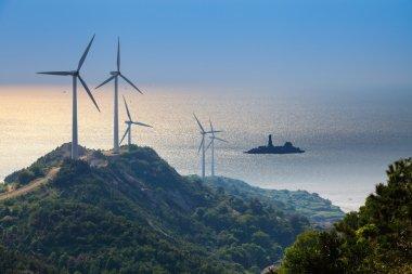 Wind farm with beautiful seascape