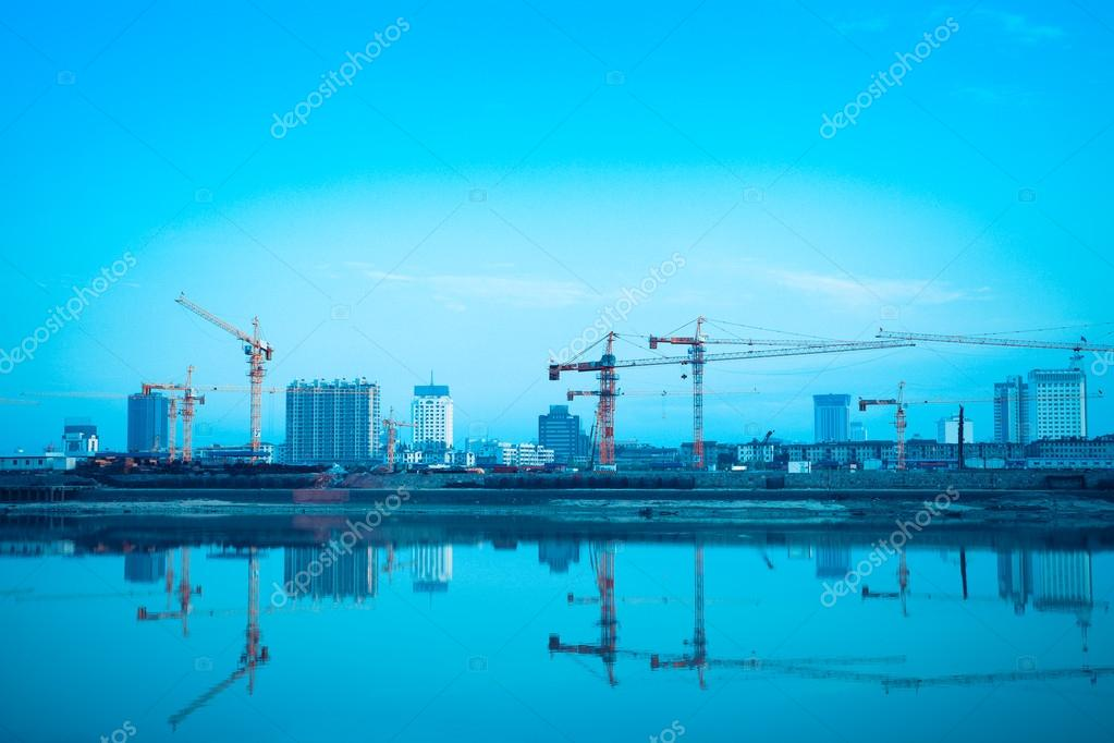 Construction site reflection in the river