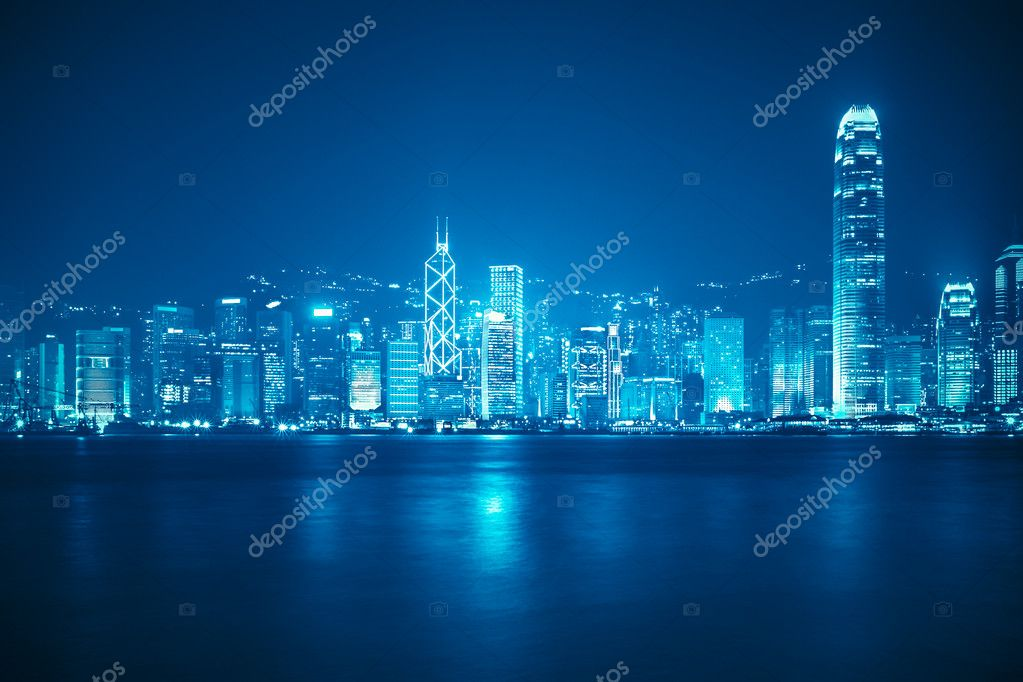 victoria harbour skyline at night