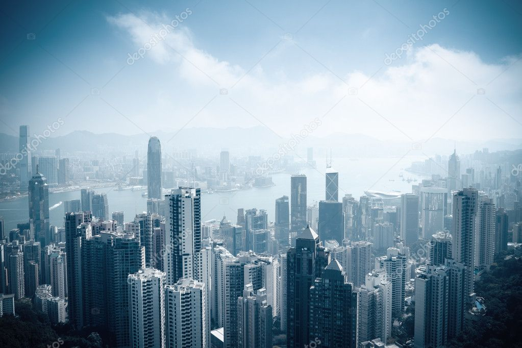 aerial view of beautiful hongkong