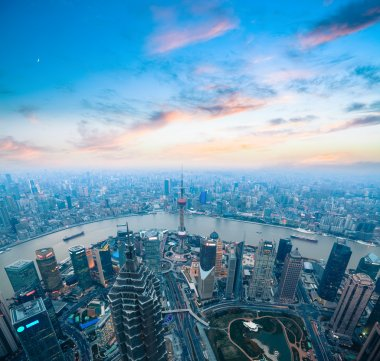 bird's eye view of shanghai panorama