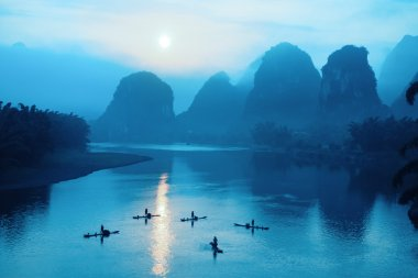 yangshuo scenery in sunrise