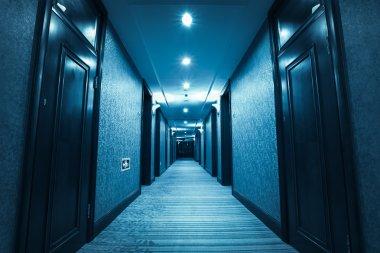 blue hotel corridor