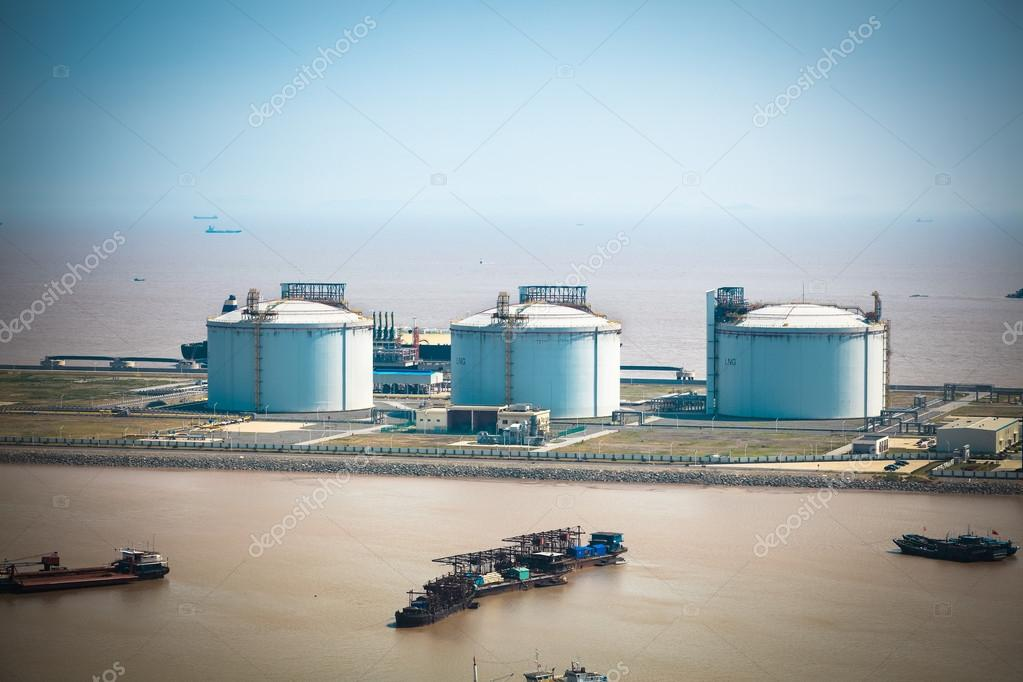 LNG tanks at the port