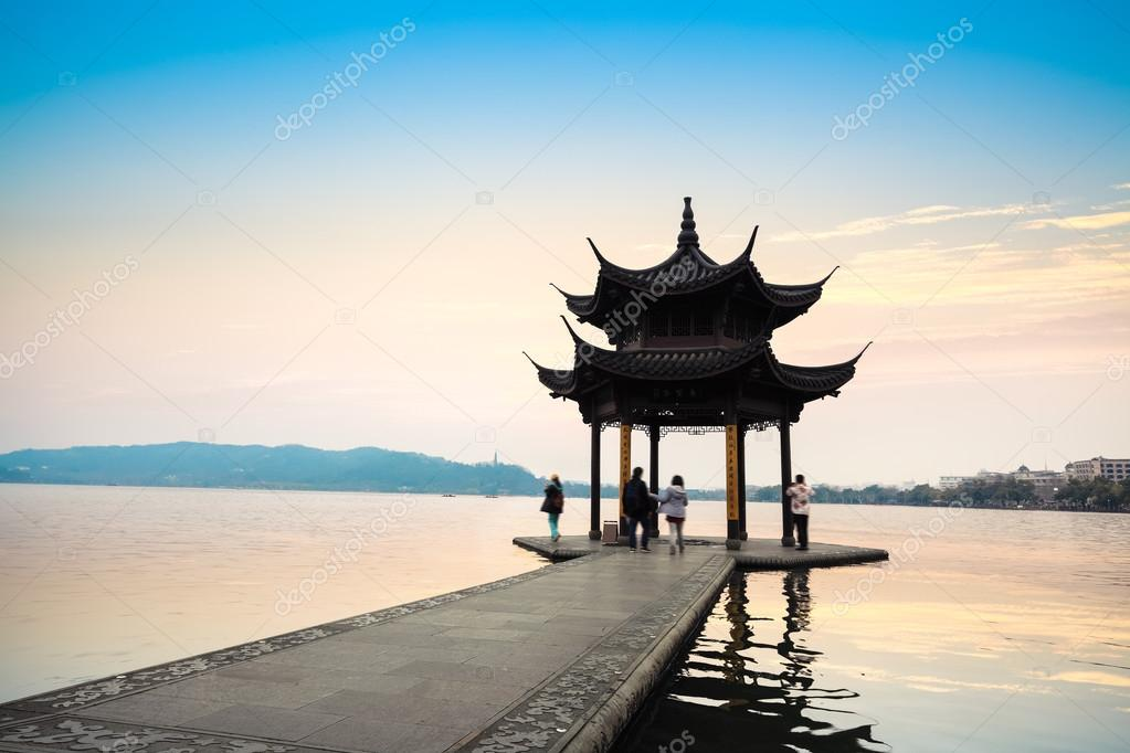 The West Lake Scenery With Ancient Pavilion  U2014 Stock Photo