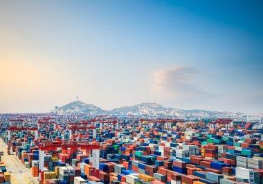 Container yard at dusk in shanghai yangshan deepwater port stock vector