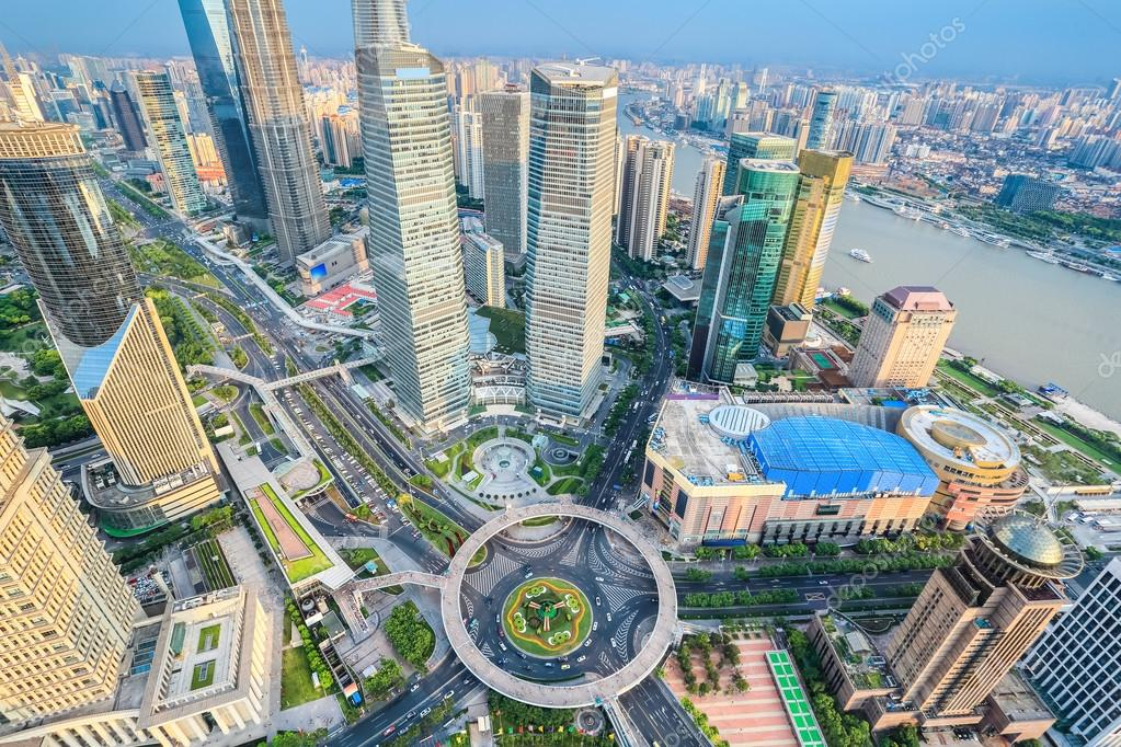 Aeriel View Of Shanghai Lujiazui District In The ...