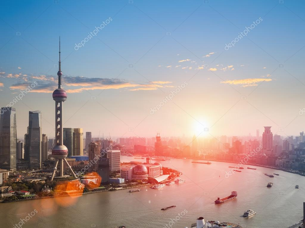 shanghai  in a beautiful dusk