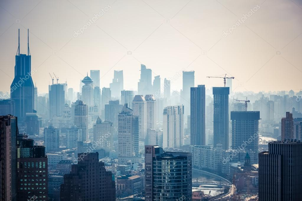 modern city buildings in the afternoon