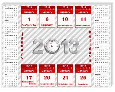Calendar 2013 with holiday calendar icon for january.