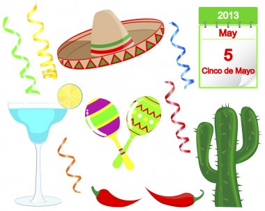 Cinco De Mayo. Set of holiday elements and icons. Vector illustration. clip art vector