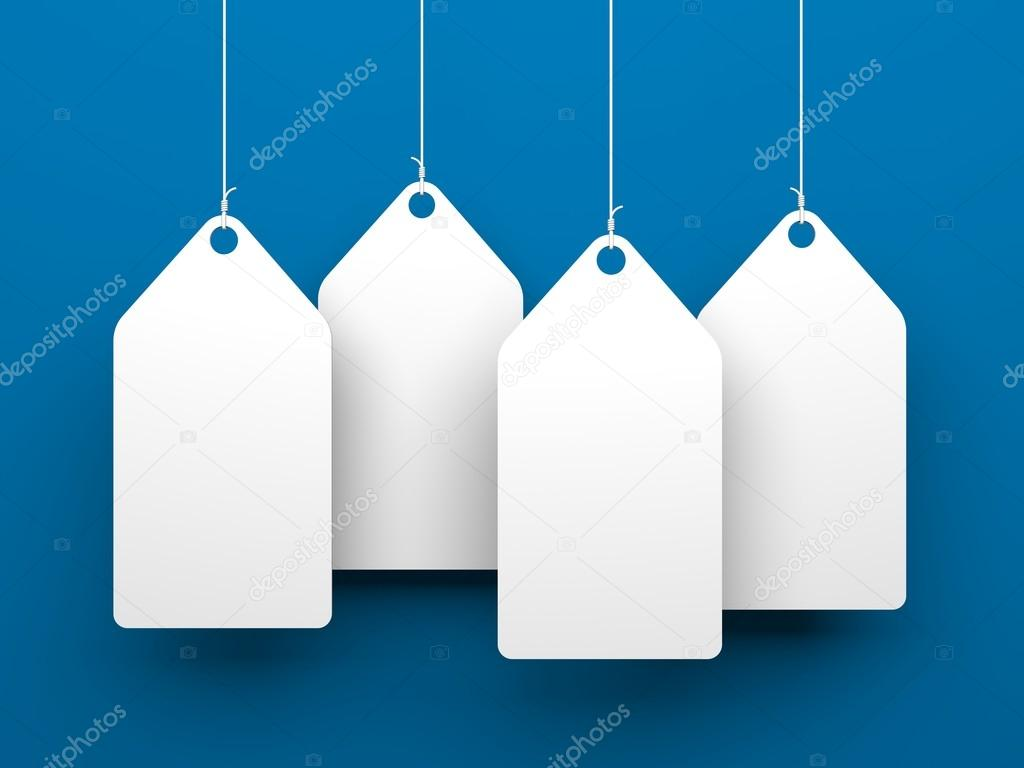 White tags on blue background