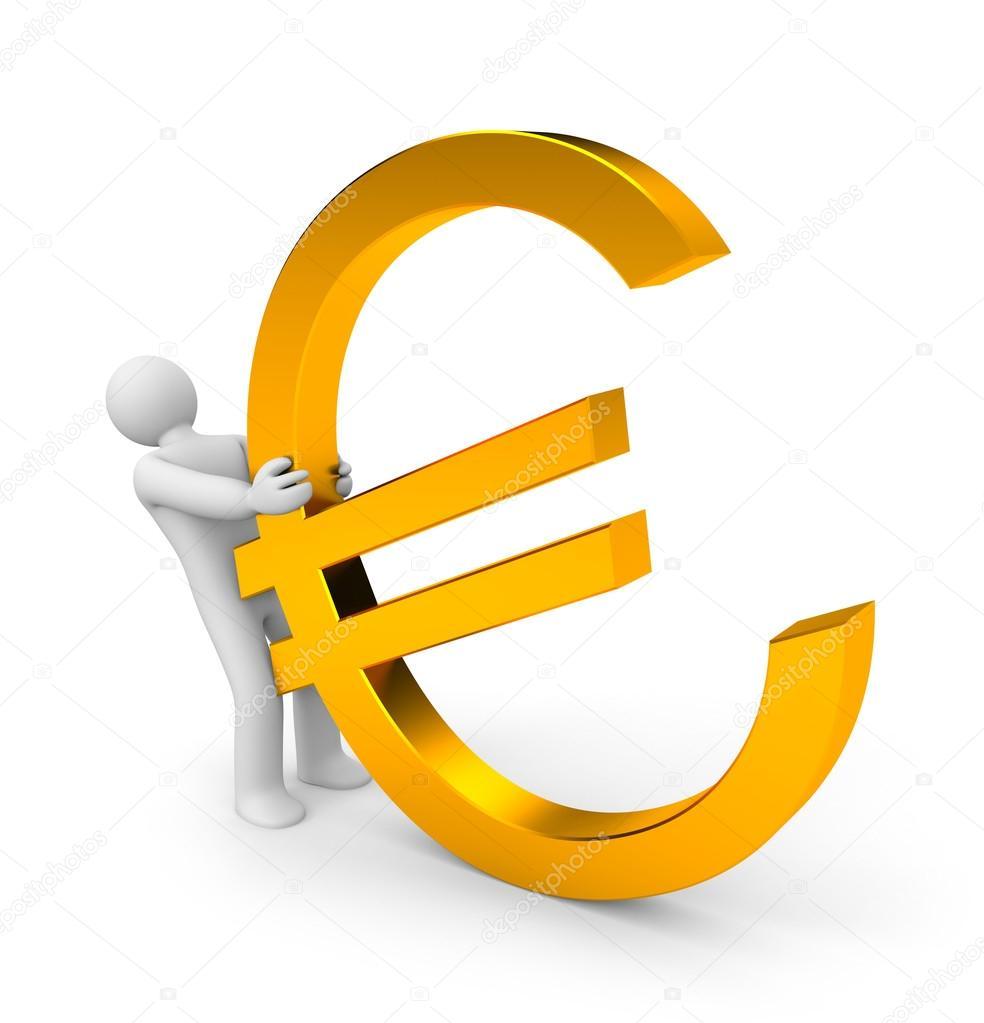 Persoon trekken euro in goud teken — Stockfoto © Pixelery ...
