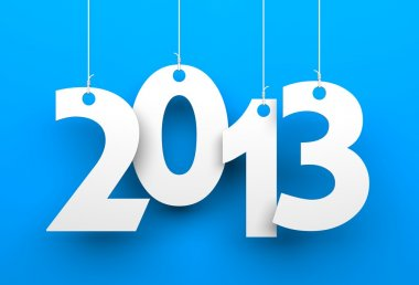 White tags with 2013 on blue background