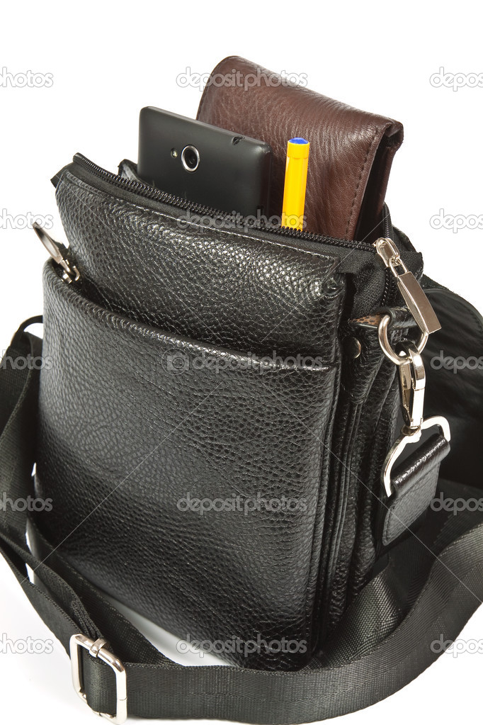 4a7f354b Small black leather bag men — Stock Photo © kocetoilief #50566667