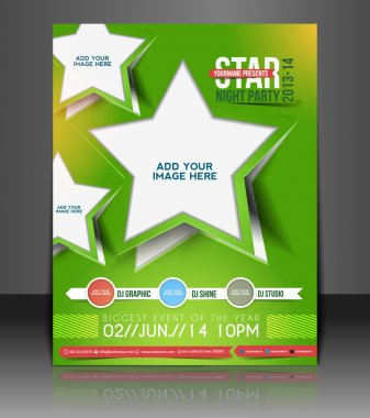 Vector star night party brochure, flyer, magazine cover & poster template