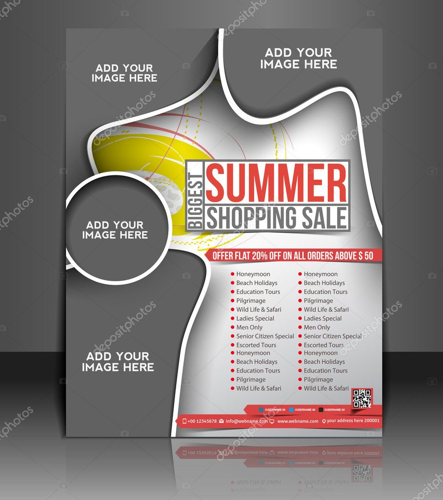 Vector shopping brochure, flyer, magazine cover & poster template