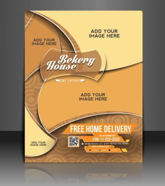 Vector bekery flyer, brochure, magazine cover & poster template
