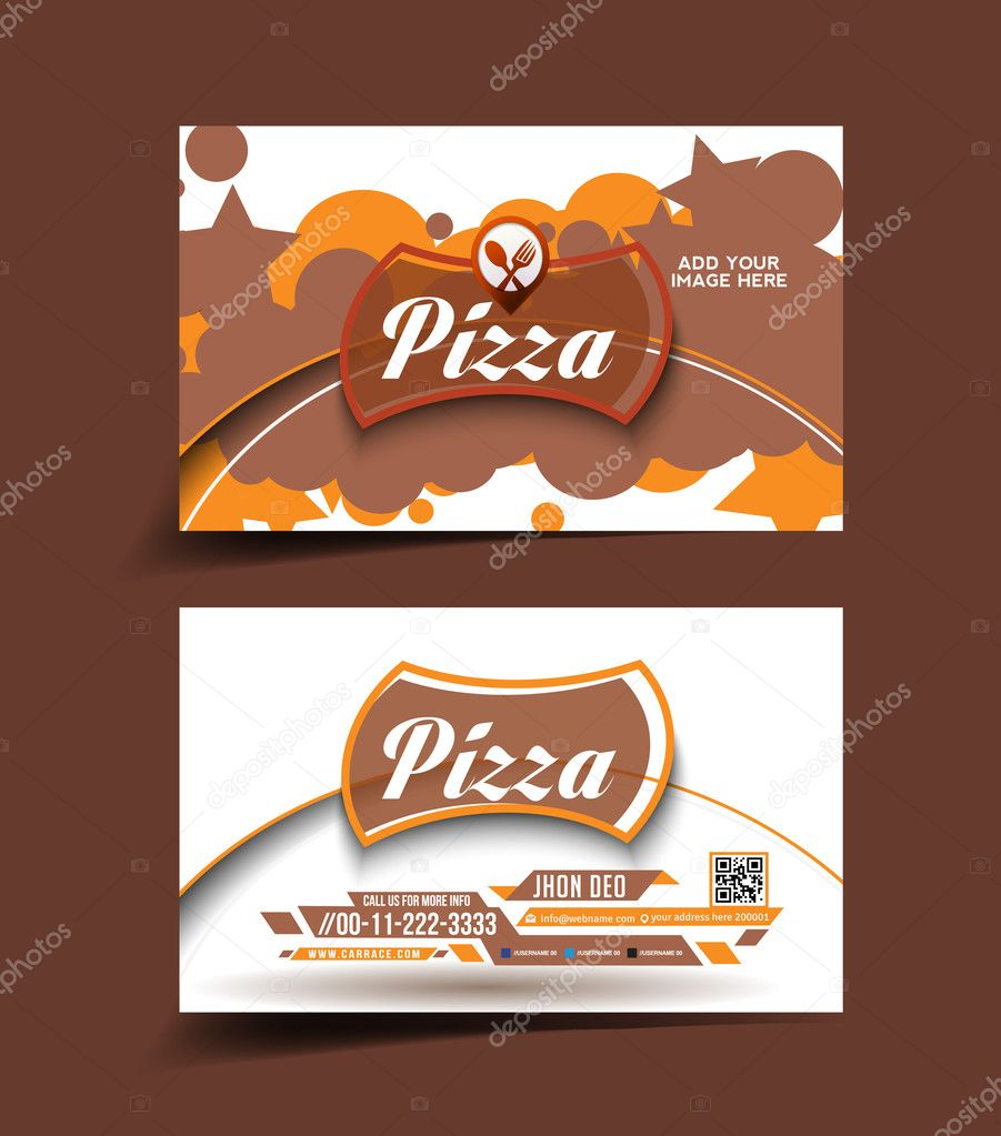 Vector Pizza store business card set — Stock Vector ...