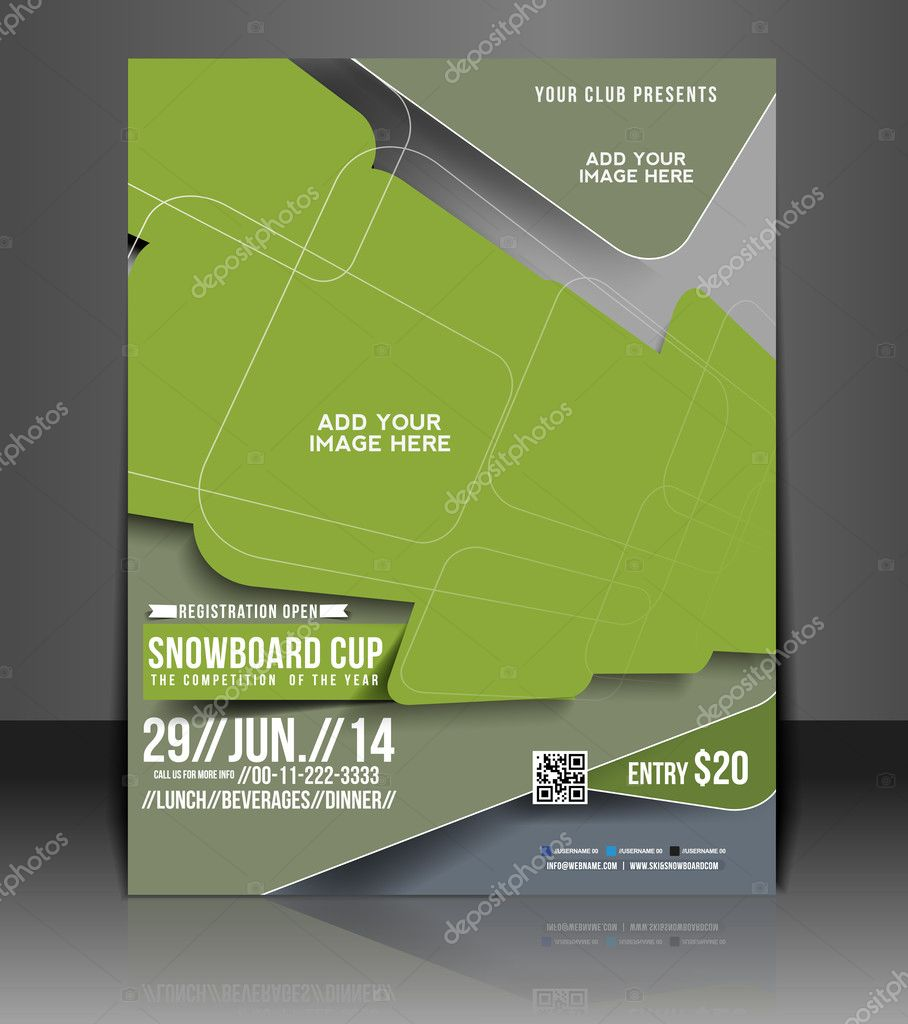 Snowboard cup flyer, Flyer Magazine Cover & Poster Template