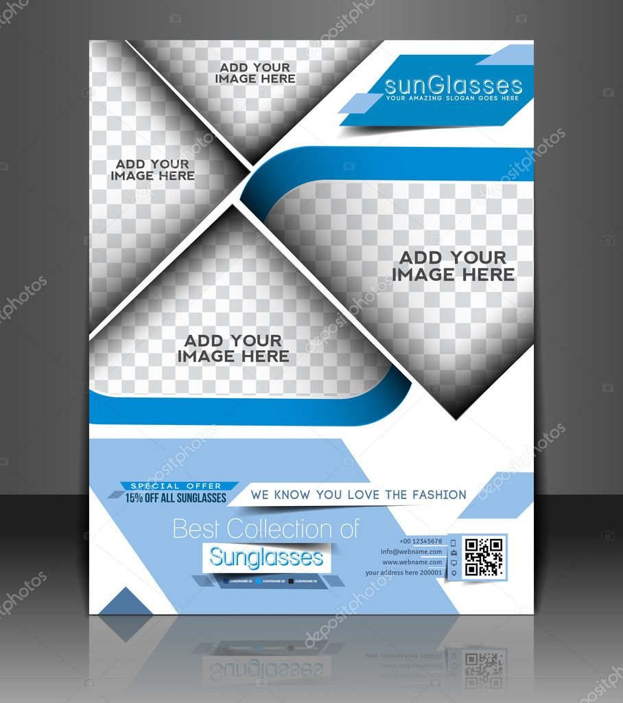 Vector Optician Sunglasses Store Flyer Magazine Cover & Poster Template.