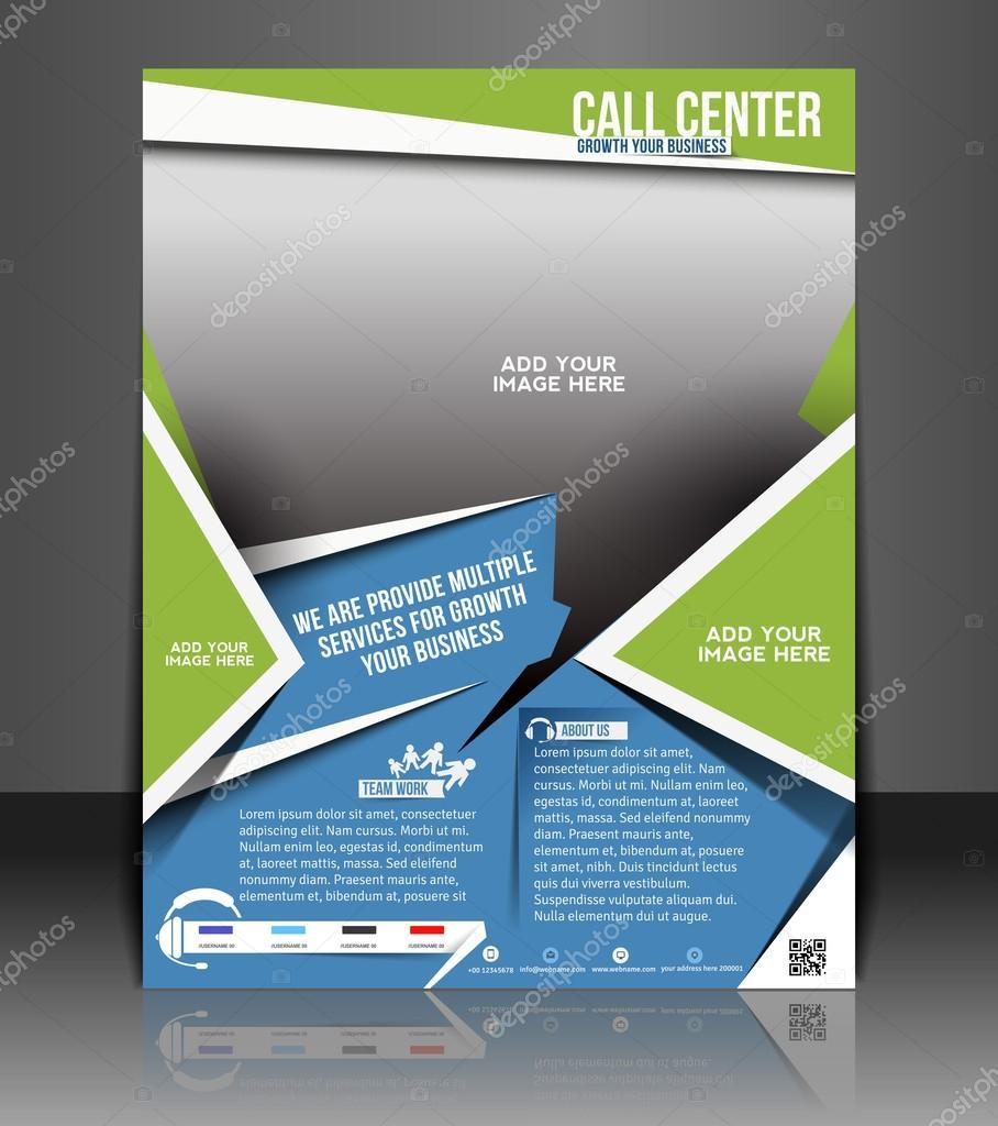 Call Center Tri-fold brochure design, vector illustartion