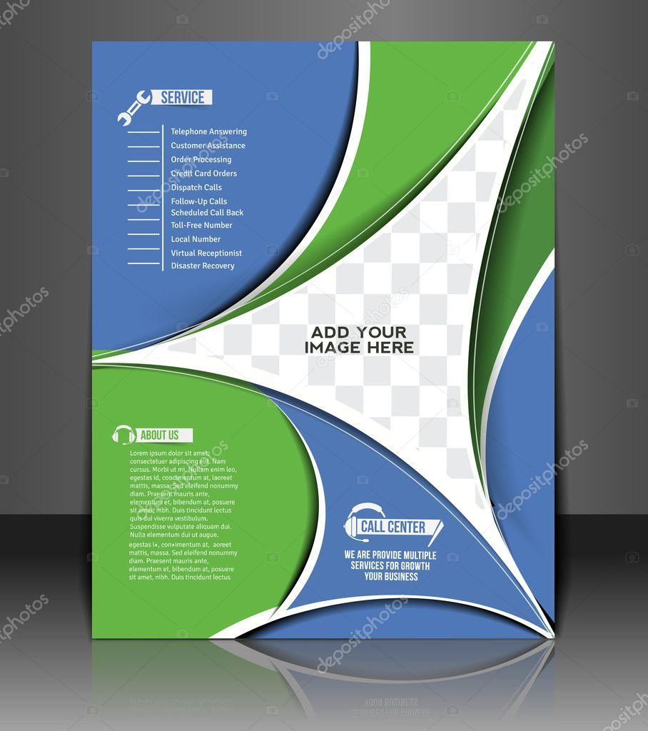 Vector Call Center Flyer Magazine Cover