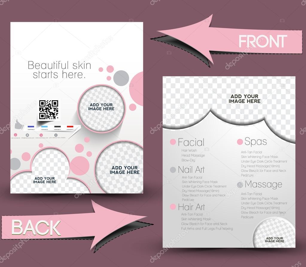 Beauty Care & Salon Front & Back Flyer Template