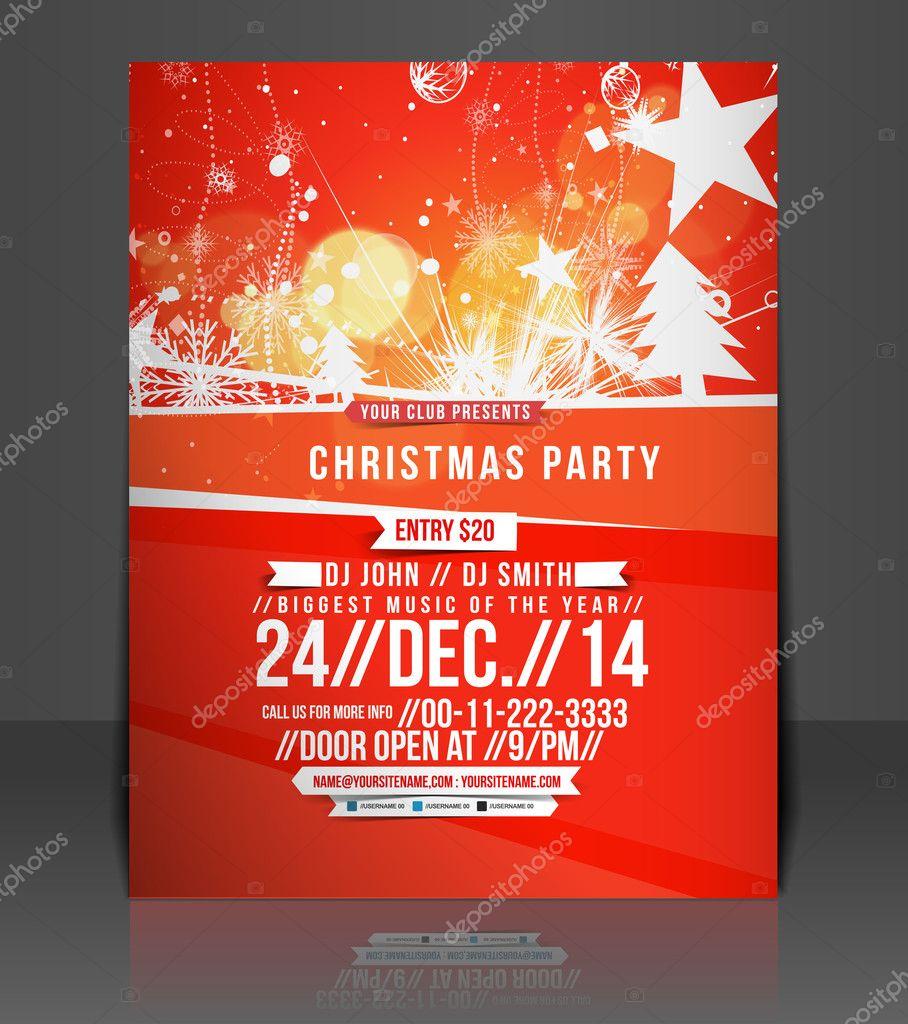 vektor weihnachten Flyer Titelseite & Plakat-Vorlage — Stockvektor ...