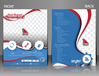 Automobile Center Flyer, Magazine Cover & Poster Template.